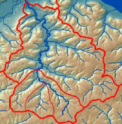Image of stream network and watersheds.