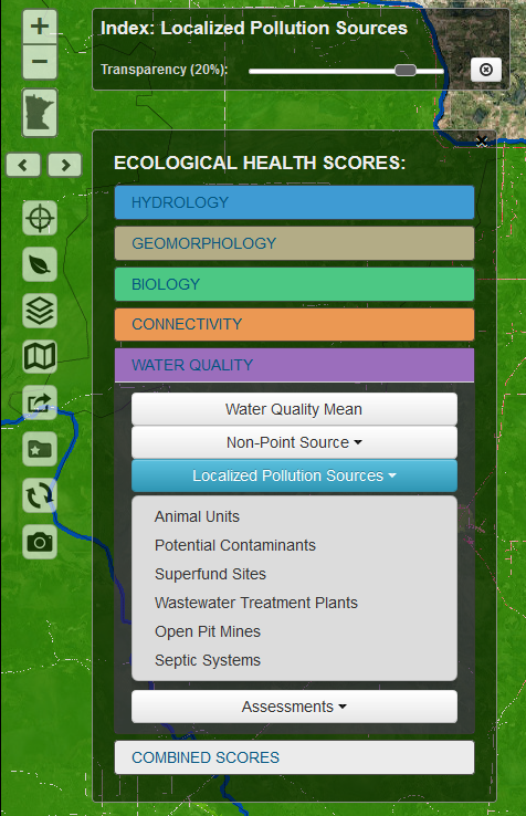 menu from WHAF map that shows the water quality metrics for local pollution