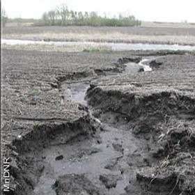 sediment moving through farm gully
