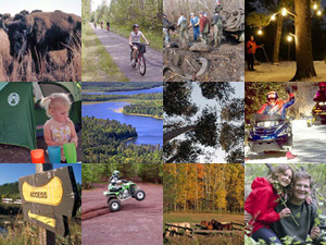 Collage of photos taken around Minnesota's state parks, trails, and water trails