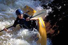 paddling a river