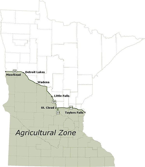 Map showing the Agricultural Zone.