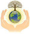 Hands holding earth with recycle symbol