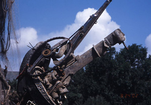 Photo of the found object sculpture called Red Alert, when exhibited at the 2002 Minnesota State fair.