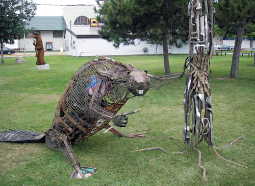 Photo of the found object sculpture called Nature's Engineer the Beaver, when exhibited at the 2010 Minnesota State fair.