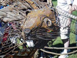 Photo of the Minnesota DNR's 2010 Adopt-a-River state fair sculpture, a large beaver made entirely of trash found in rivers around Minnesota