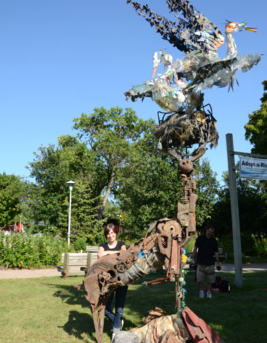 Photo of the found object sculpture called Union, when exhibited at the 2011 Minnesota State fair.