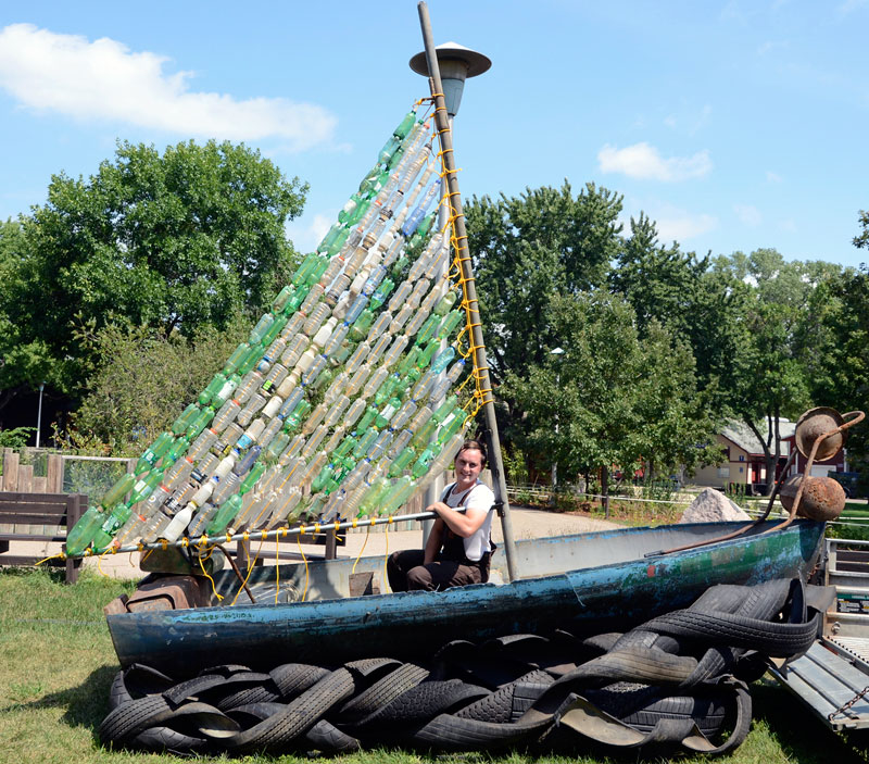 Photo of the found object sculpture called Scuttled, when exhibited at the 2012 Minnesota State fair.