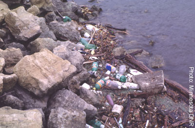 Photo of trash along a river in Minnesota