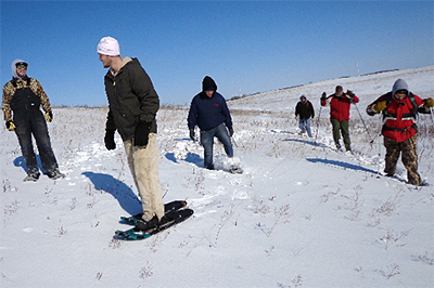 Photo of group snowshoeing at Blanket Flower Prairie SNA