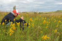 Photo of visitor taking picture in a prairie