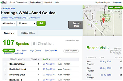 Photo of e-Bird web page showing Hastings Hotspot species checklists