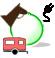 Icon for drive-in equestrian electric campsite.