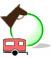 Icon for drive-in equestrian campsite.