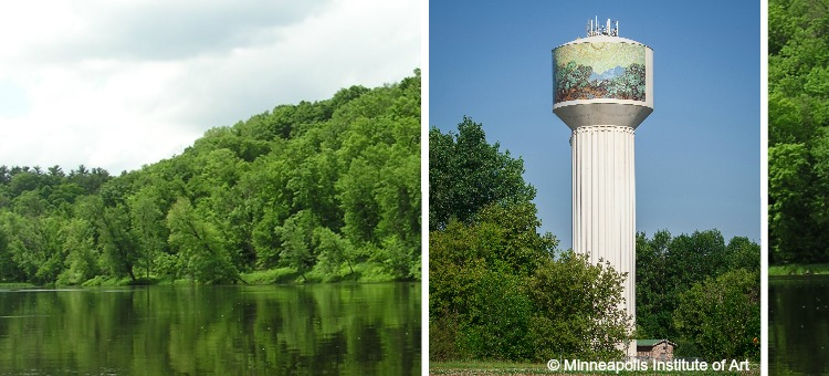 river bluff and water tower