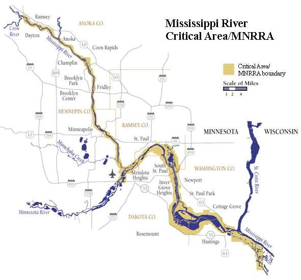 Mississippi River Critical Area/Mississippi National River and Recreation area boundary map.