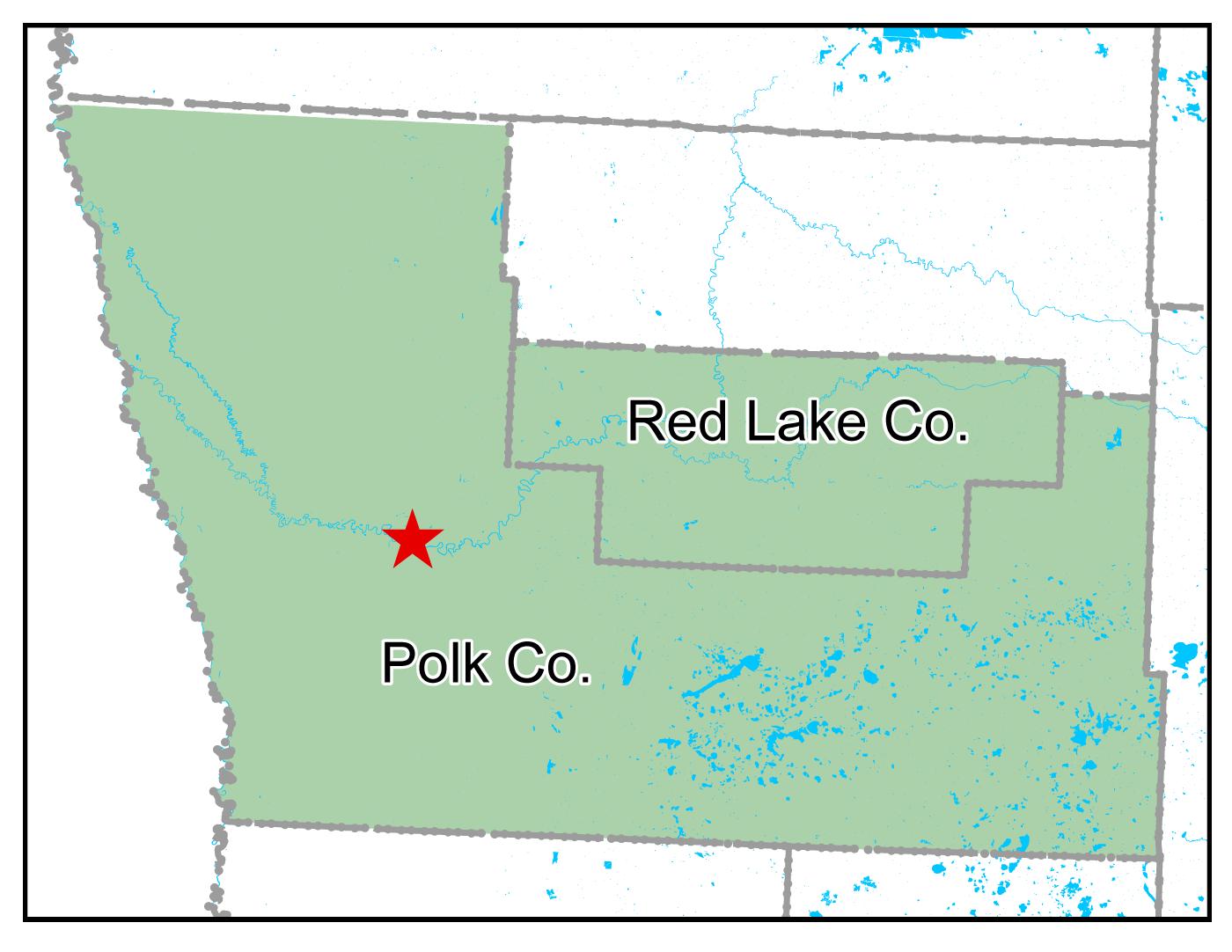 Map of Crookston work area