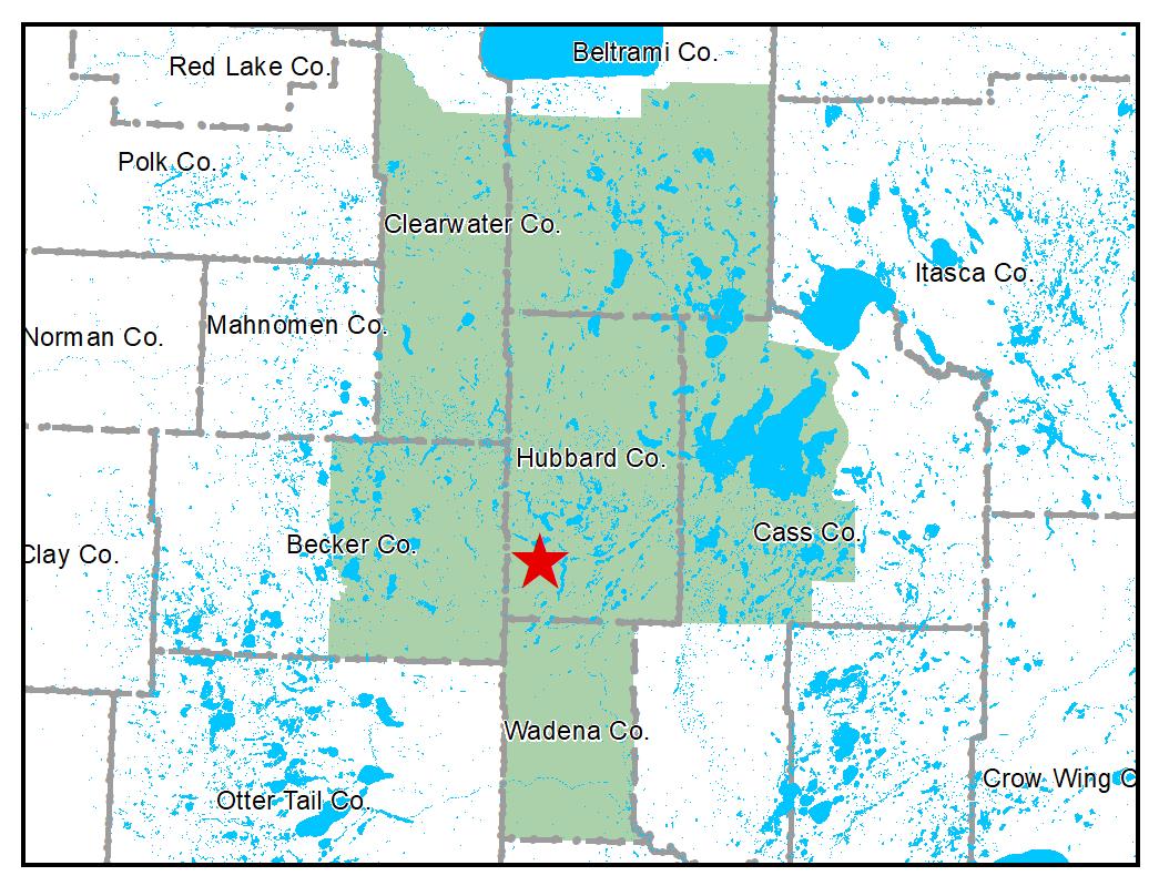 Map of Park Rapids work area