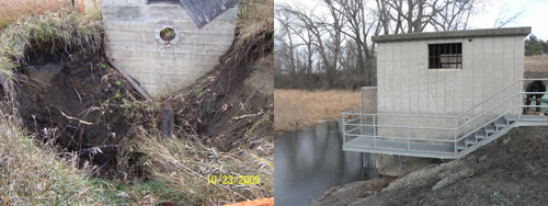 A sinkhole underneath an old water control structure resulted in this new one being built so water levels can be managed to benefit wildlife.