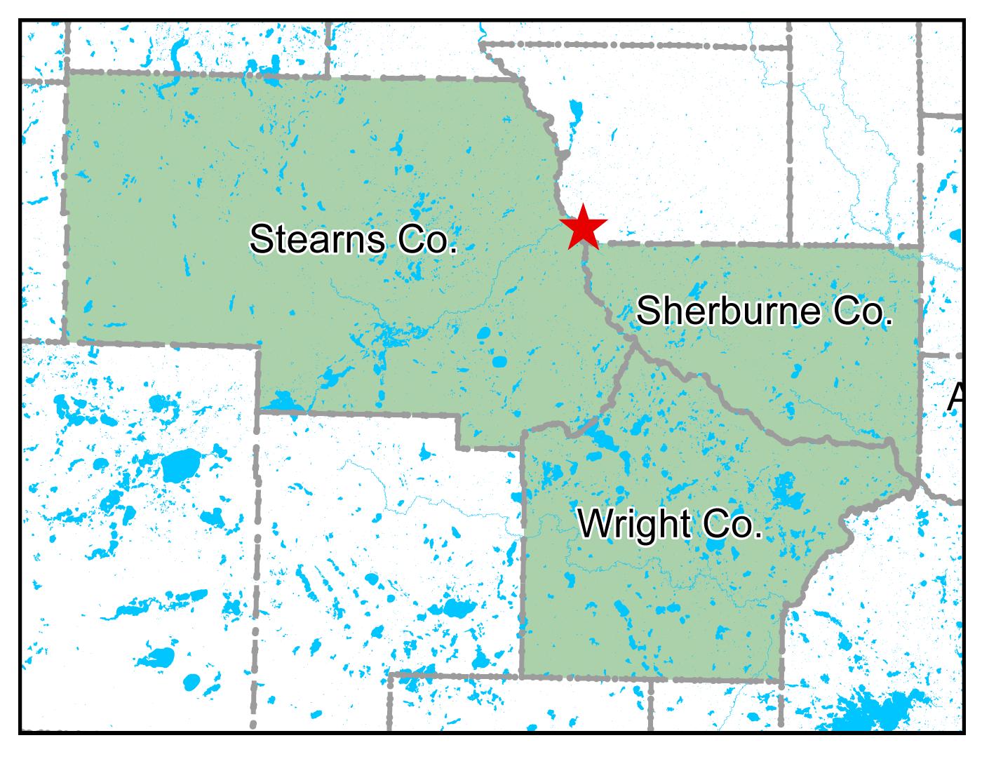 Map of Sauk Rapids work area