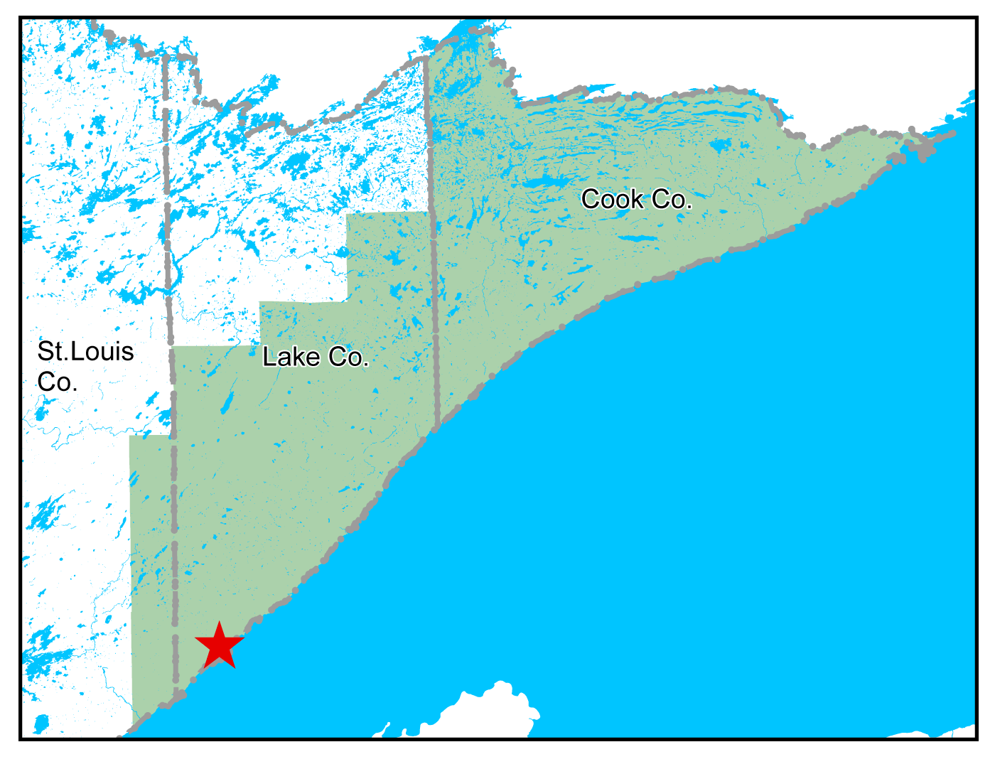 Map of Two Harbors work area