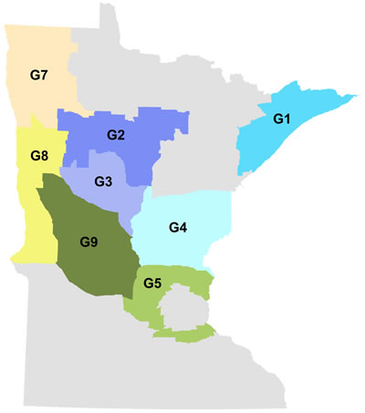 Minnesota map showing outline of deer goal-setting blocks