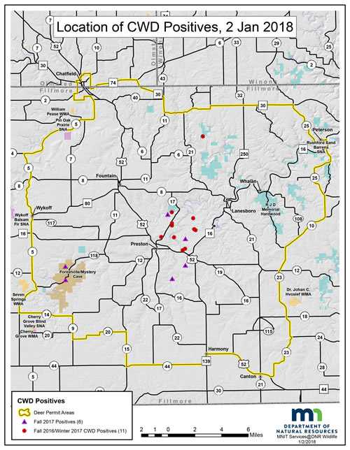 Map showing boundaries CWD-positive deer in the CWD managemetn zone.