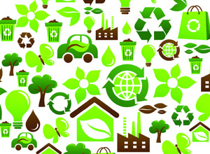 collection of energy conservation images, including recycling symbols, trees, leaves, flowers, and light bulbs