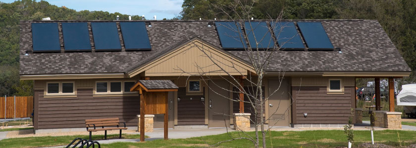 Solar panels on the roof of the shower building in Whitewater State Park's new Minneiska Campground.