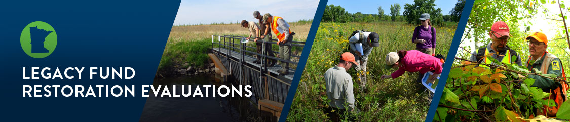 Text:Legacy Fund Restoration Evaluation. Photos of three restoration projects and a state of Minnesota icon.
