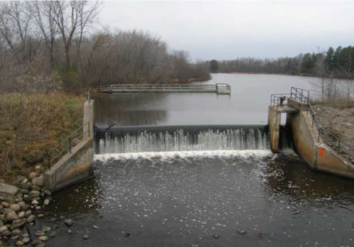 The dam on the Grindstone River at Hinckley in 2008.
