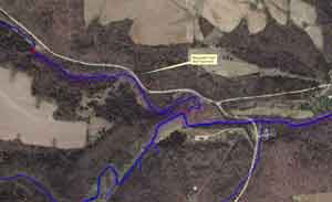 Aerial photo depicting the location of new trout stream easement in Fillmore County, T102N, R9W, S24.
