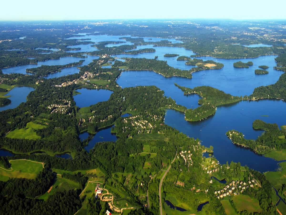 An aerial view of Minnesota's Lake Minnetonka