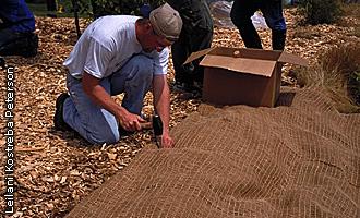 installing erosion control blanket