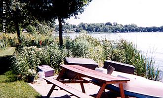 picnic table near the shore