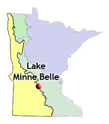 map of biomes statewide and location of Lake Minne Belle seeding site