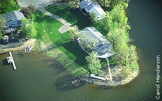 aerial view of lake lot