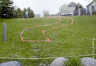 stakes and flagging delineating planting areas, path, and shoreline zones on the land