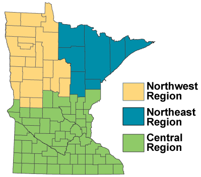 map of Minnesota showing forest health specialists work regions