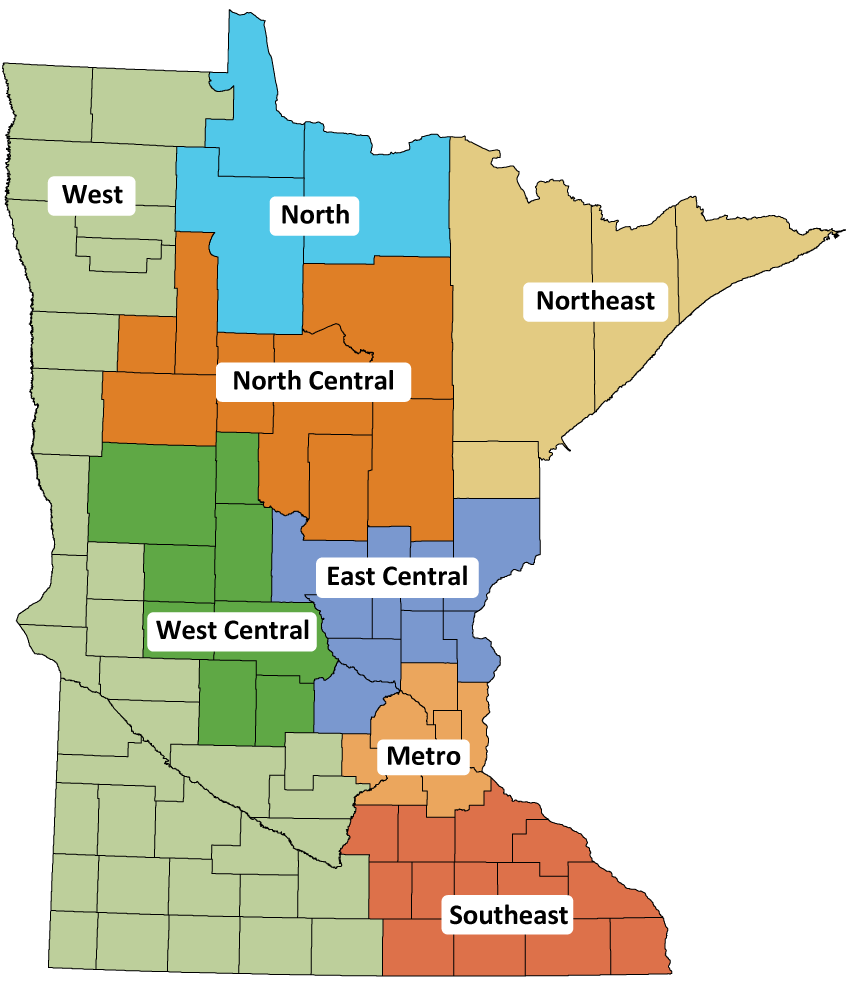 Map of Minnesota showing counties outlined and color to organize them into different zones.