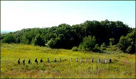 Group hiking through a natural area in the Twin Cities metro area, Minnesota.