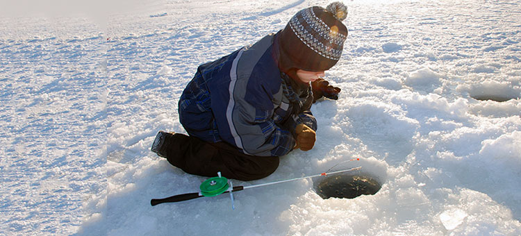 Ice fishing in a state park