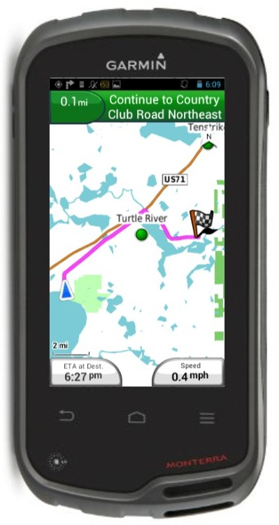 Example of a Garmin with map