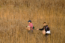 Photographer focusing camera on prairie grasses