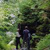 Hiking in rugged terrain