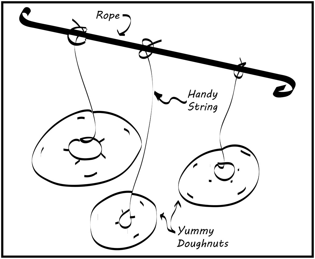 Image of donuts hanging from rope for game.