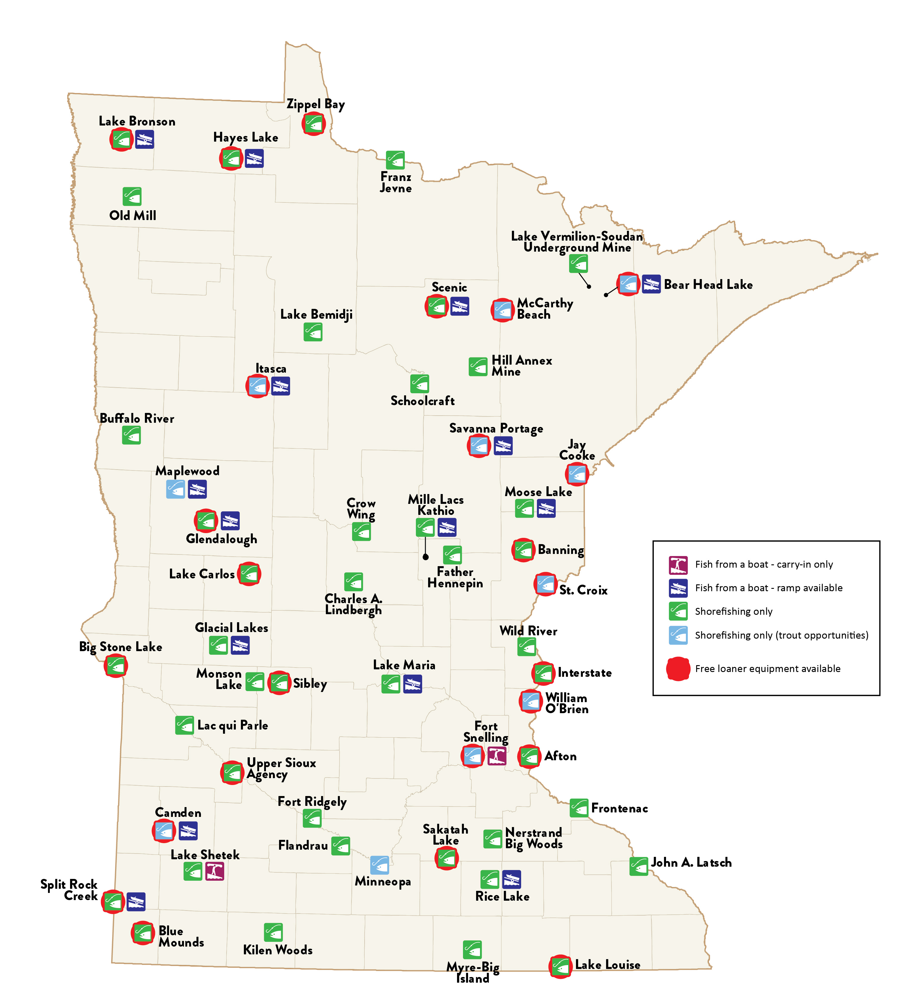 Map of Free Fishing Locations in Minnesota State Parks