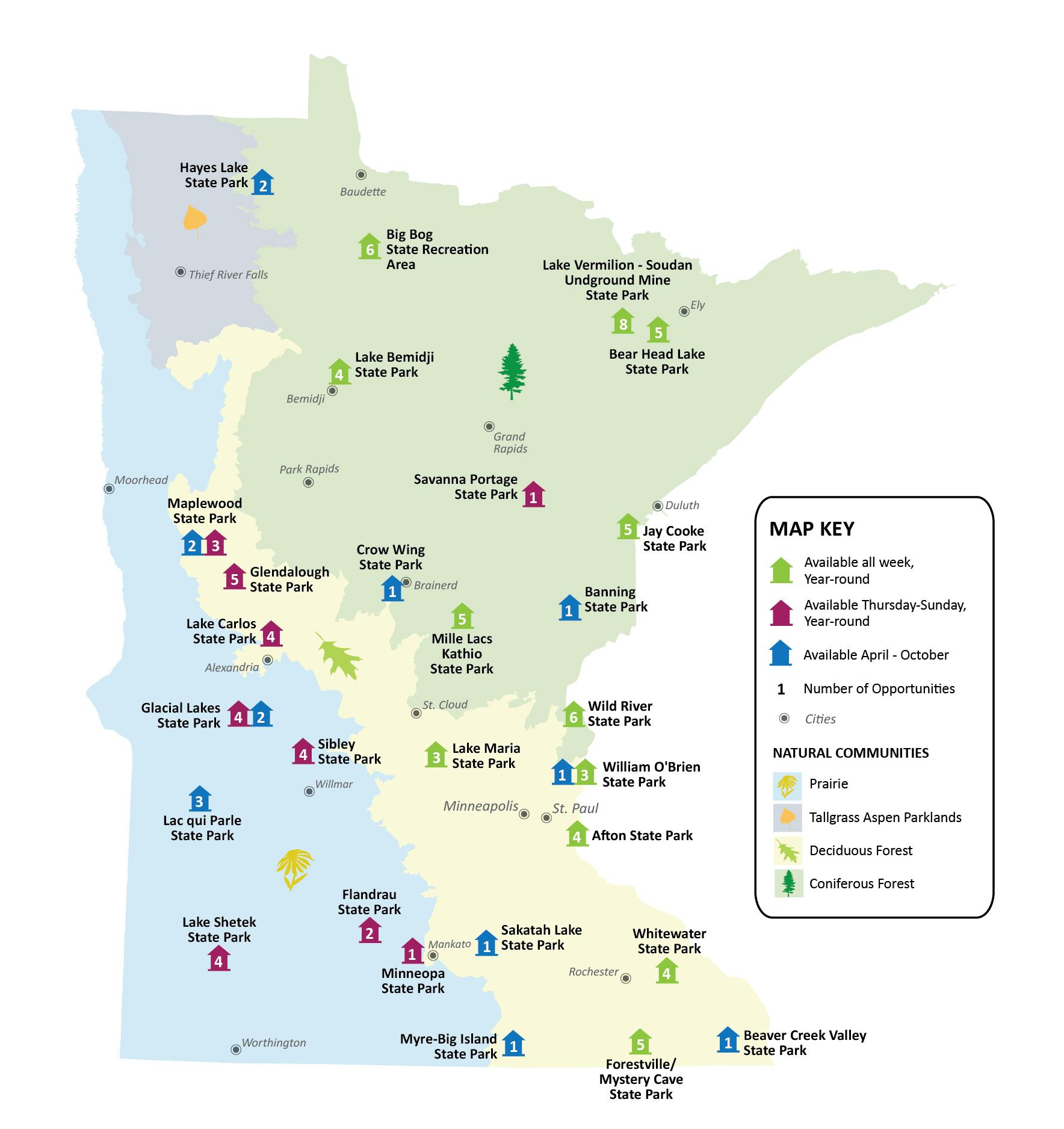 camper cabin locations in minnesota