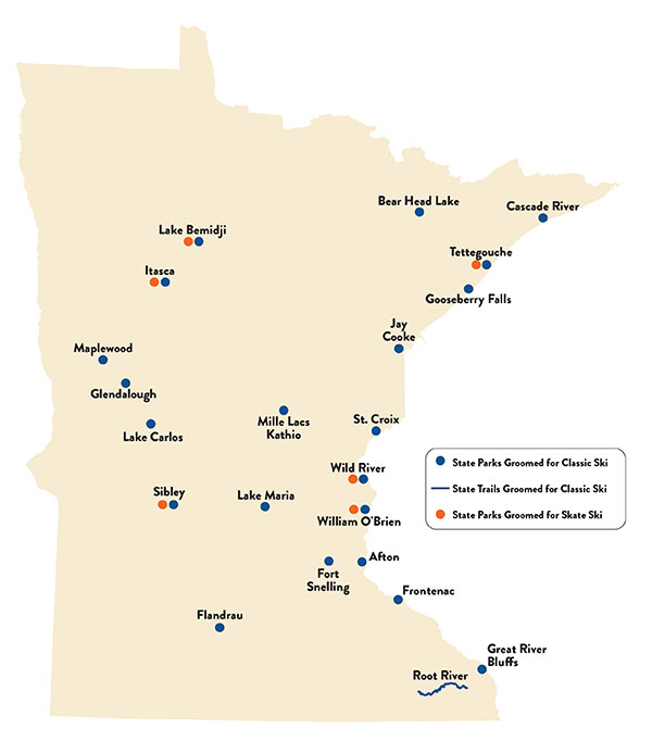 Groomed ski locations in Minnesota State Parks and Trails