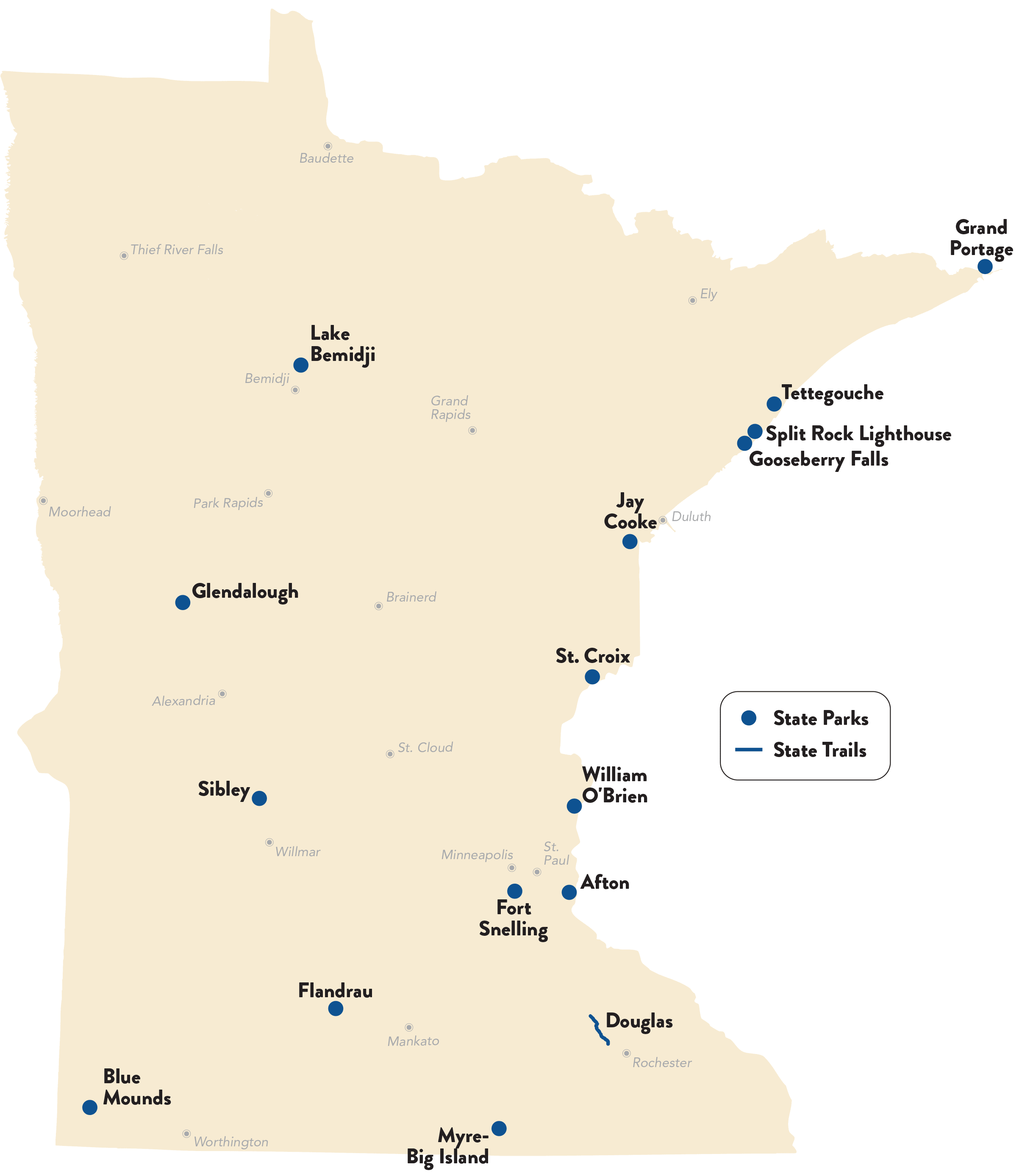 plowed or packed hiking trail locations in Minnesota